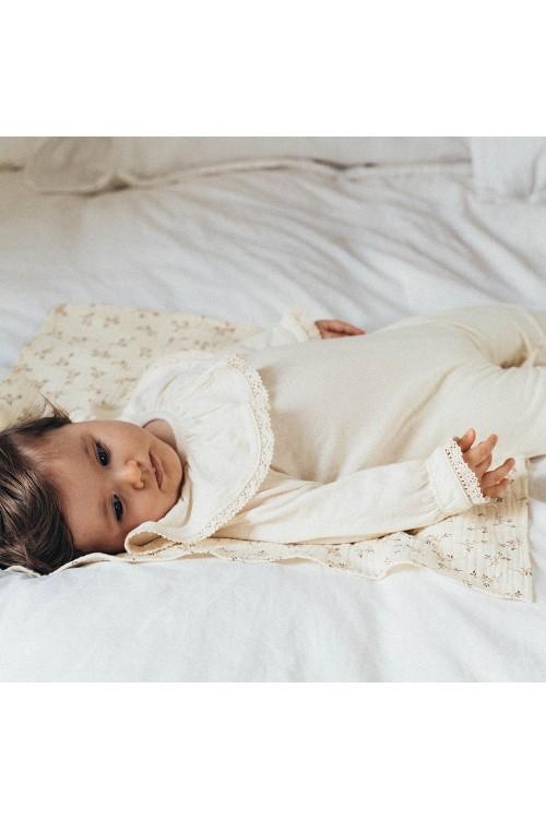 pyjama bébé coton bio ecru dentelle risu risu