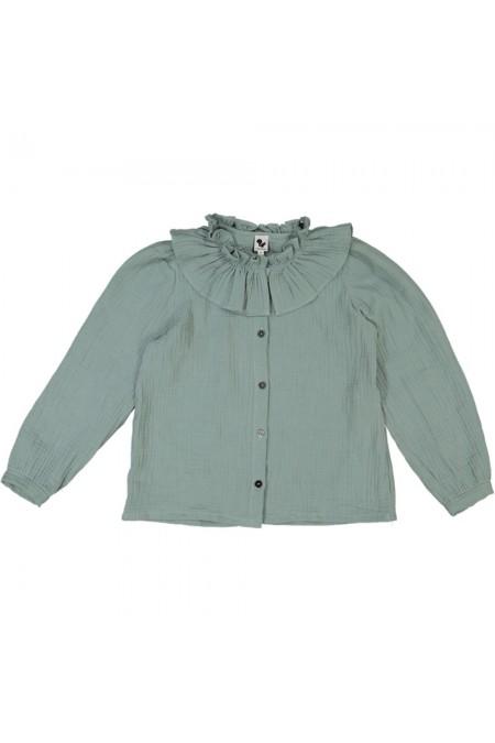 blouse fille risu risu pirouette bleu vert coton bio