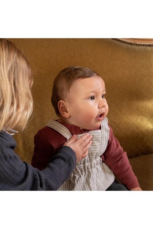 combinaison bébé risu risu charmille rayée gris
