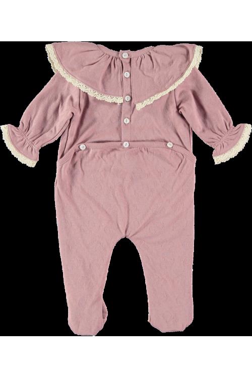 pyjama bébé fille coton bio rose dentelle
