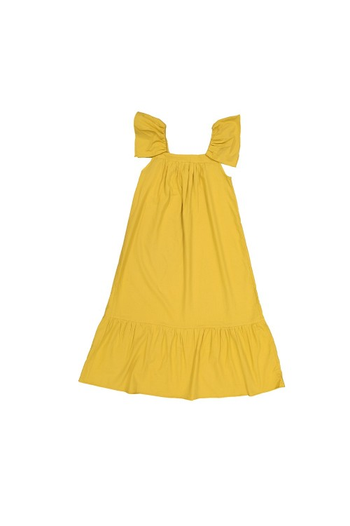 organic cotton summer girl's yellow dress bohemian