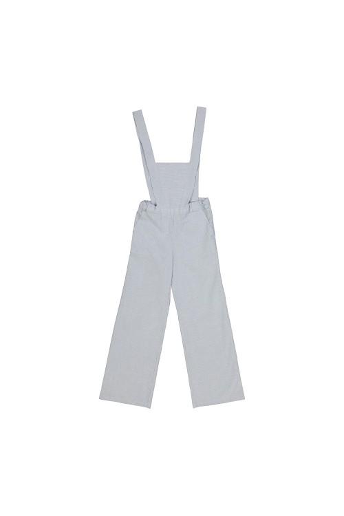 girl's organic cotton overalls blue stripes