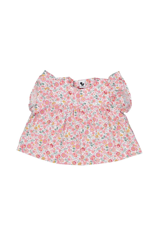 blouse bébé été fleurs rouges coton bio petal