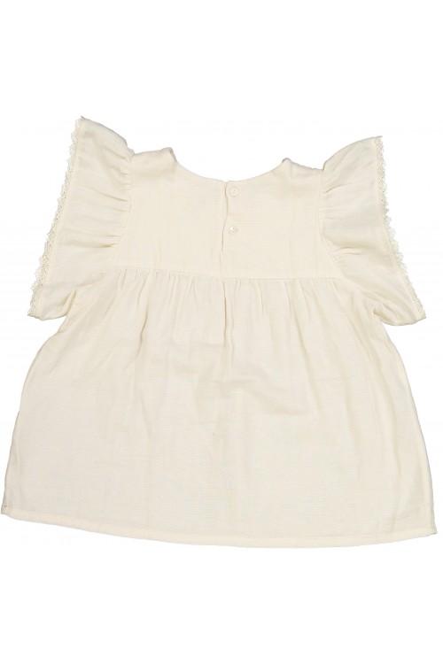 blouse bébé été coton bio écru avec dentelle
