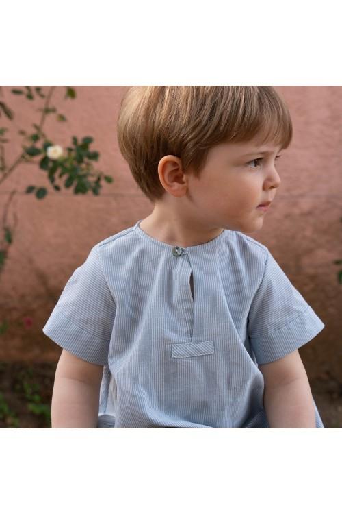 combinaison bébé été rayures bleues coton bio