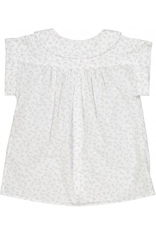 blouse été risu risu fleurs grises coton bio