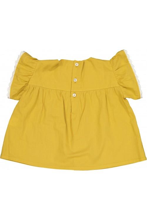 blouse fille été coton léger jaune
