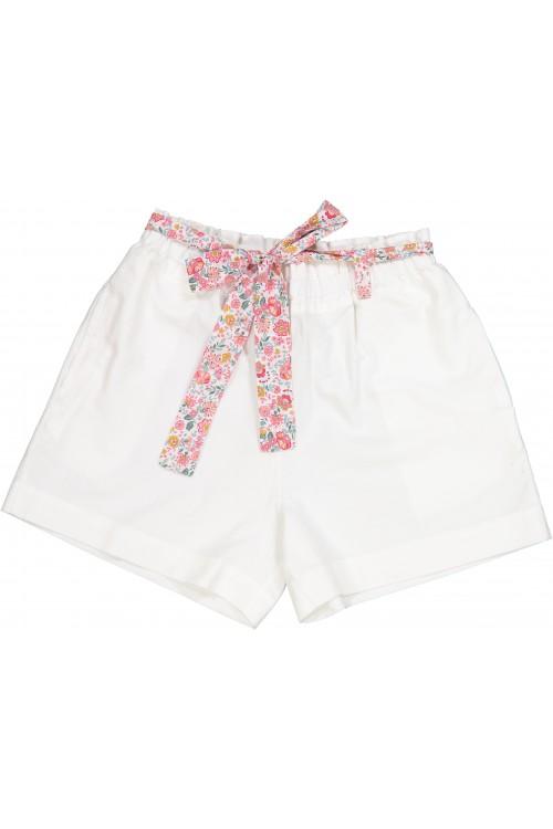 short fille dorothée  toile de coton bio blanc