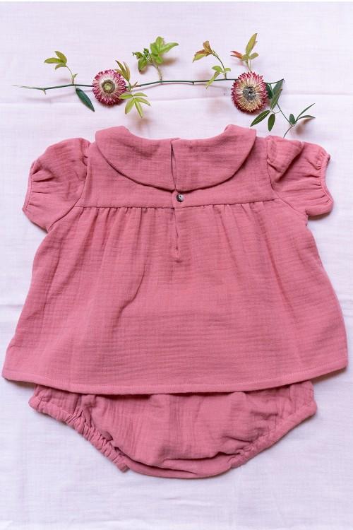 robe bébé été en coton bio rouge