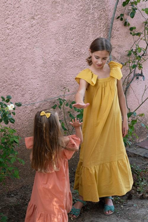 robe longue fille été coton bio jaune