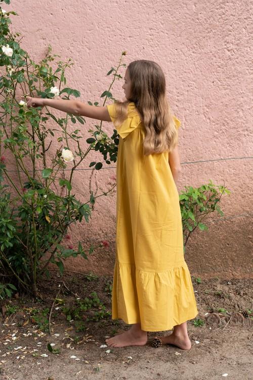 robe bohémienne risu risu coton bio jaune