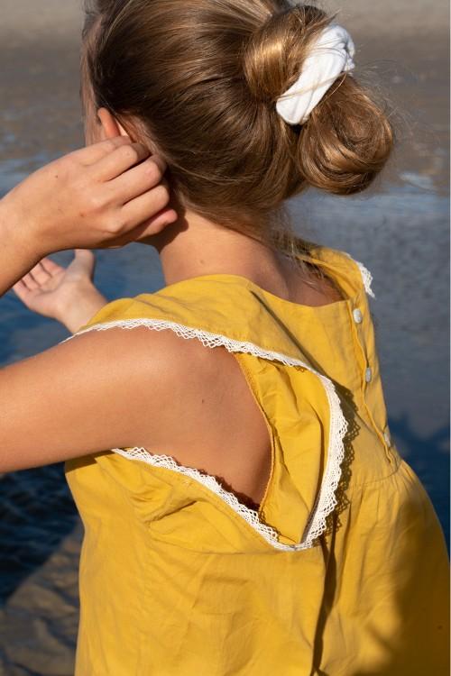blouse fille jaune coton bio petal