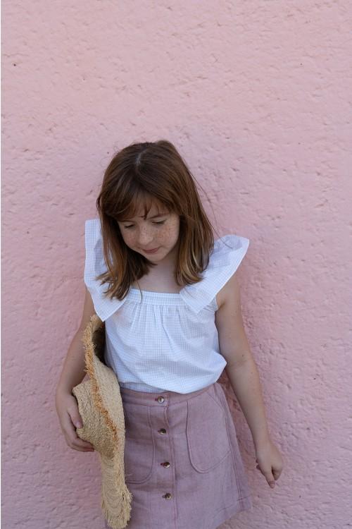 chemise fille papillon coton bio risu risu carreaux bleus