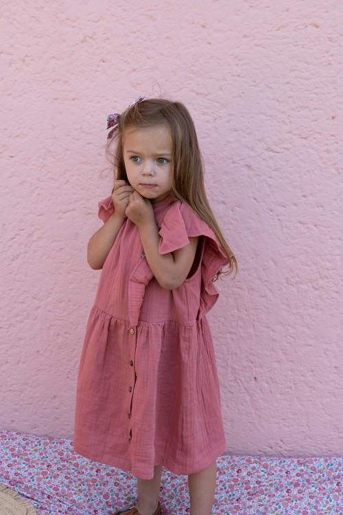 robe  fille coton bio rouge été à volants