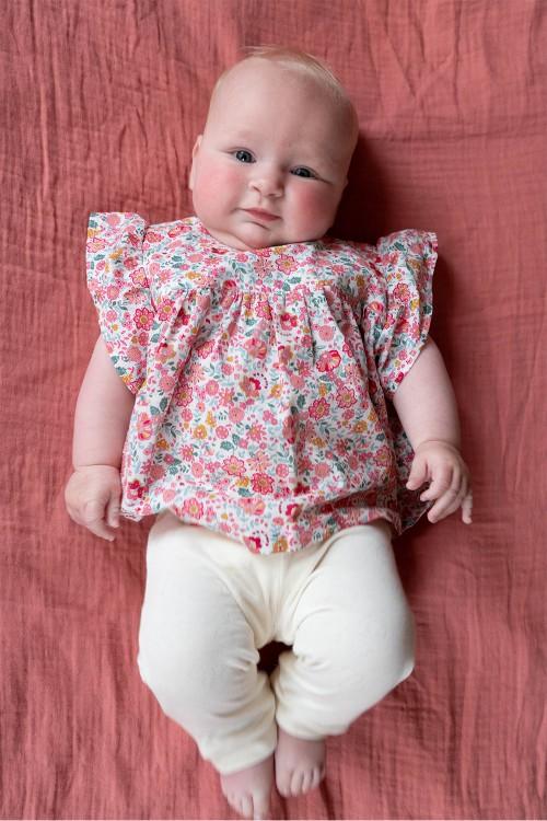 blouse été bébé en coton bio fleuri