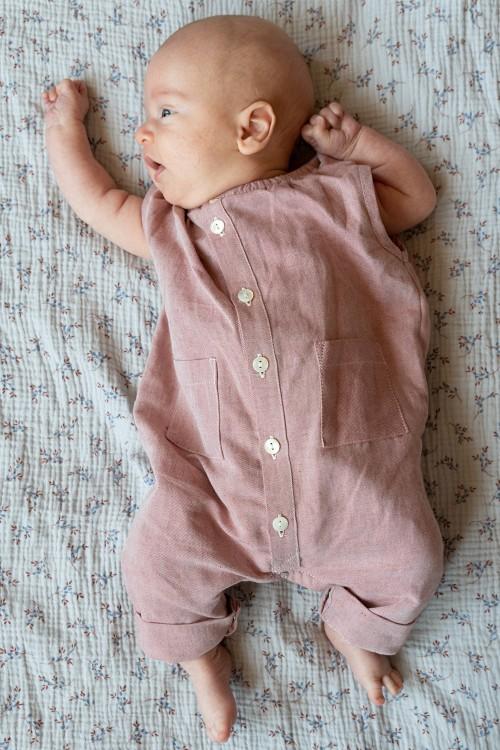 combinaison bébé été en coton bio rouge