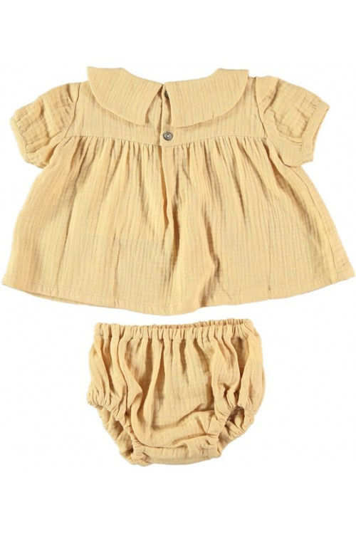 robe bébé en coton bio jaune à manches courtes