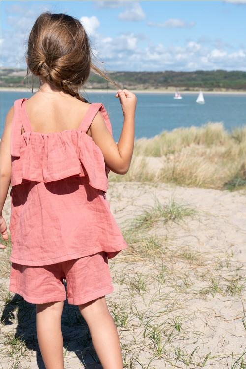 pyjama fille été rouge parasol gaze de coton bio