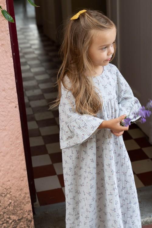 robe de nuit été fille fleurs coton bio