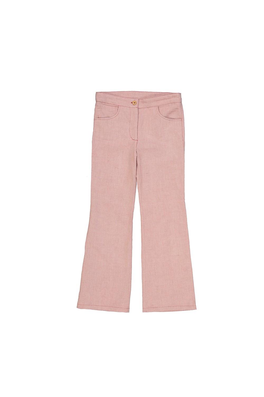pantalon fille toile de coton bio rouge jane