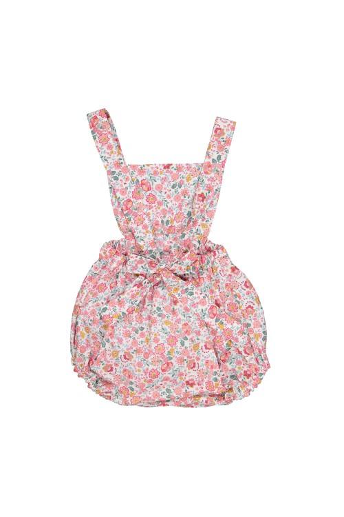 combinaison bébé en coton bio à fleurs et bretelles
