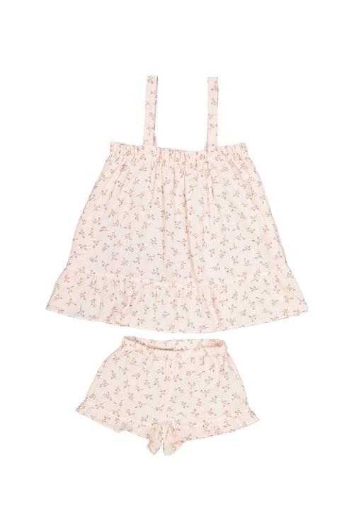 pyjamas summer girl maya flowers roses organic