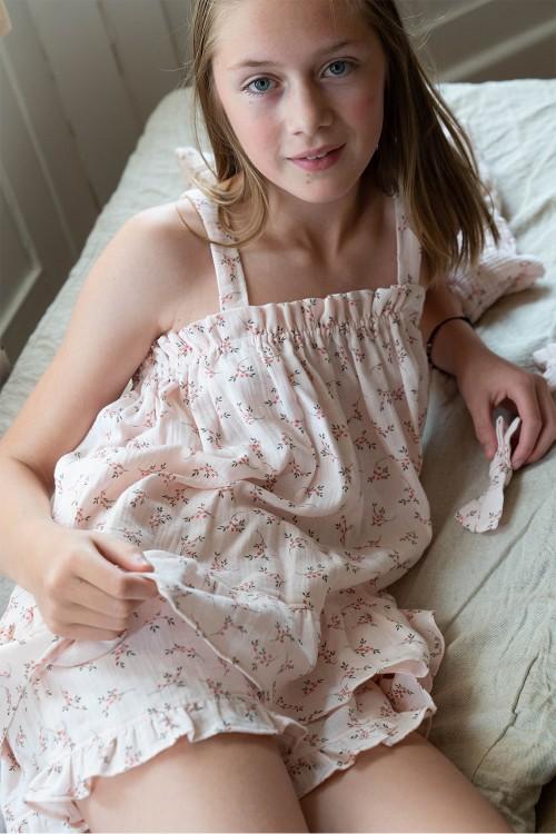 pyjama été fille maya fleurs roses bio