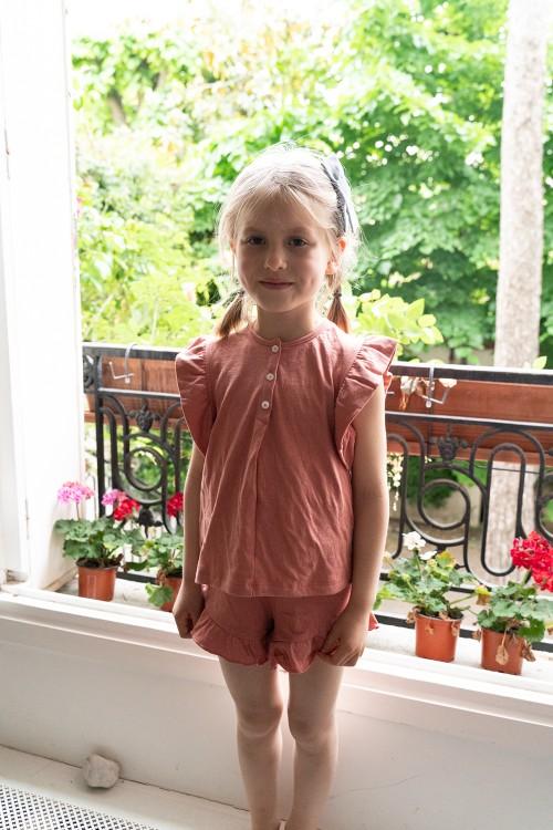 pyjama été risu risu coton bio rouge