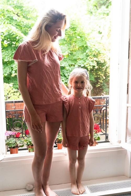 pyjama mère fille coton bio été rouge