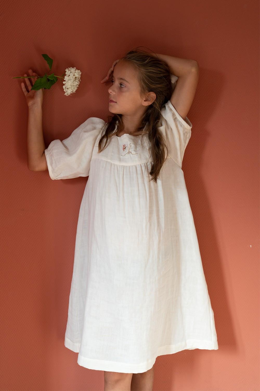 robe farfalla coton bio écru brodée