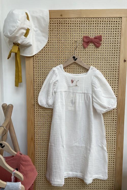 robe été fille coton bio blanc manches courtes
