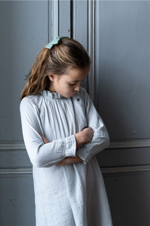 robe de nuit coton bio gris clair risu risu