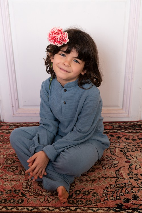 pyjama garçon coton bio bleu