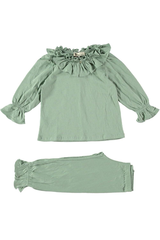 pyjama fille Colombine coton bio vert amande