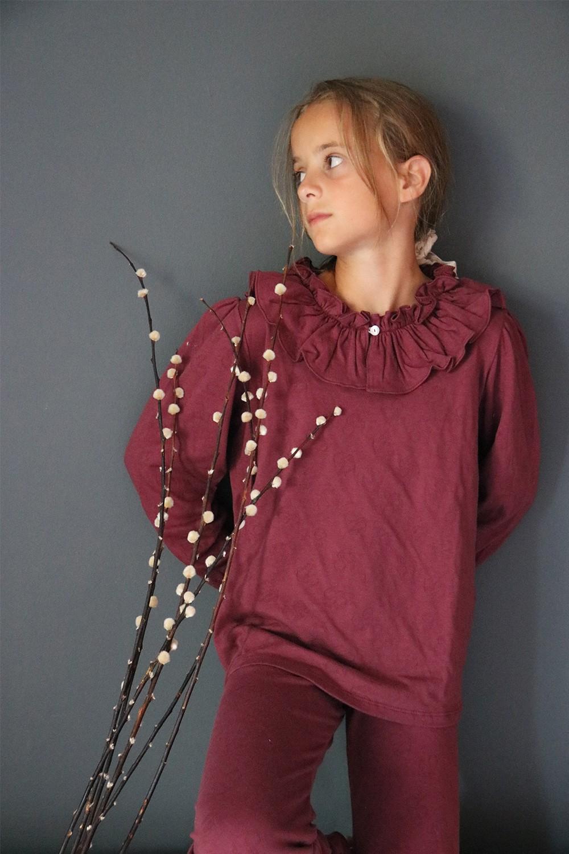 Pyjama enfant prune coton bio