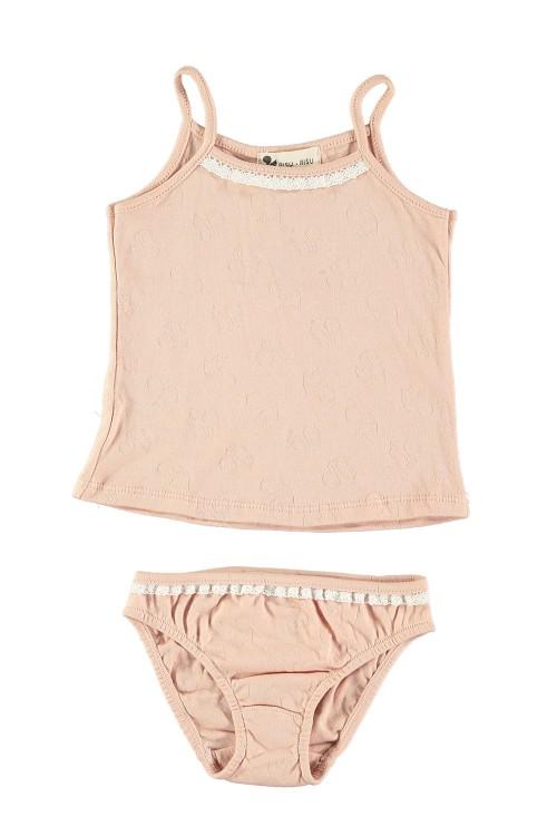 ensemble de sous vêtements fille coton bios rose avec dentelle