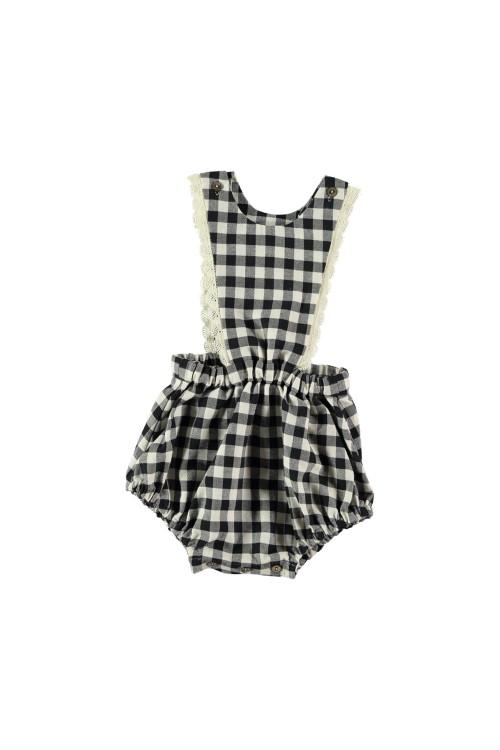 salopette bébé coton bio vichy noir écolière