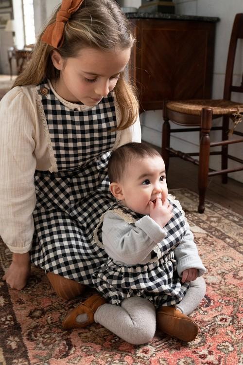 écolière vichy noir robe et combinaison coton bio