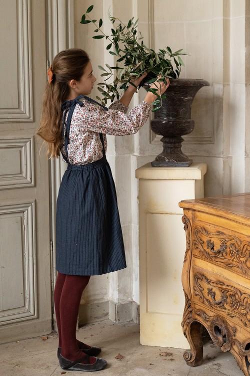 jupe à bretelles fille hiver bleu