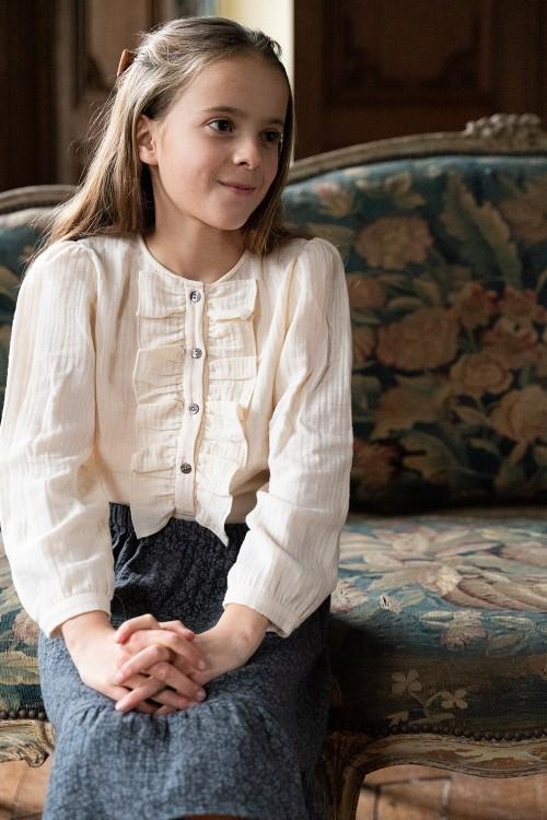 blouse fille jasmine coton bio écrue
