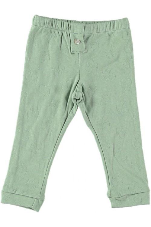 Baby leggings in almond green organic cotton jersey