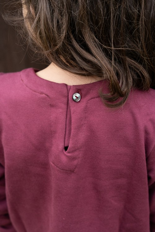 robe hiver fille en coton bio prune