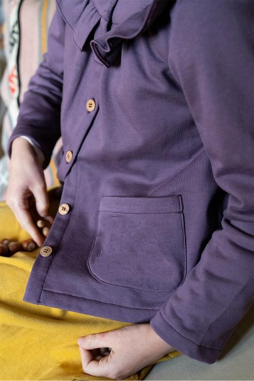 cardigan hiver fille coton bio violet