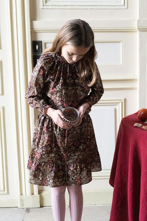 blouse fille hiver coton bios rosace fleurs chic