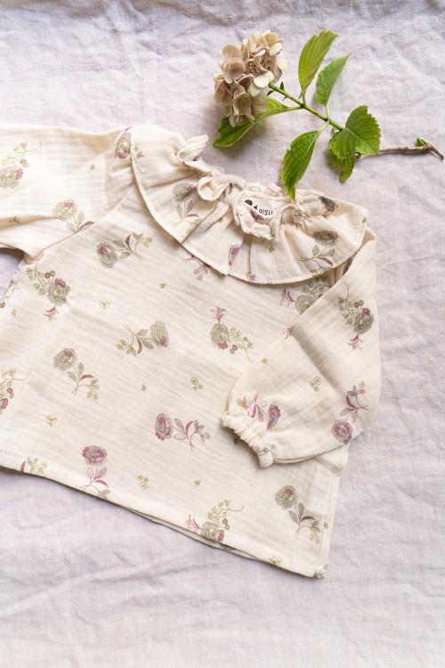 blouse bébé gaze de coton bio fleurs hiver