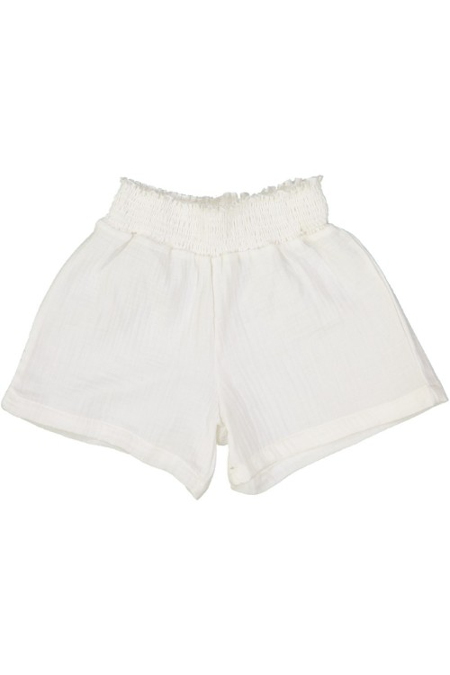 short fille coton bio brava blanc