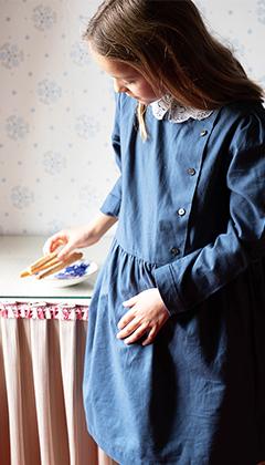 organic cotton girl dress blue risu risu